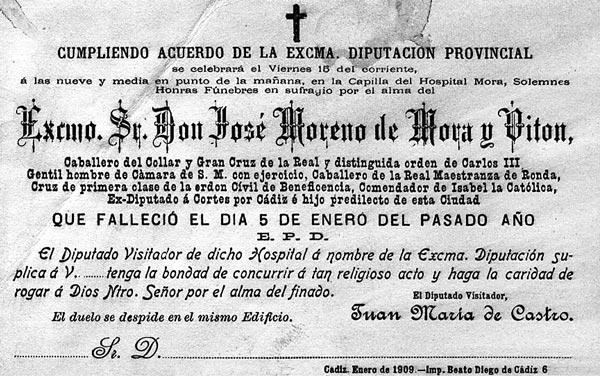 la muerte de José Moreno de Mora, en 1908, Ayuntamiento y